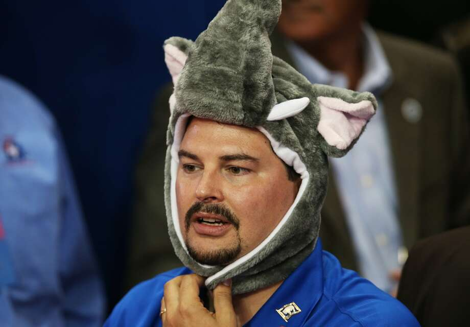 TAMPA, FL - AUGUST 29:  A man wears an elephant hat as he watches the program during the third day of the Republican National Convention at the Tampa Bay Times Forum on August 29, 2012 in Tampa, Florida. Former Massachusetts Gov. Mitt Romney was nominated as the Republican presidential candidate during the RNC, which is scheduled to conclude August 30.  (Win McNamee/Getty Images) (Win McNamee / Getty Images)