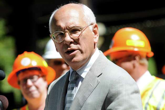 Rep. Paul Tonko, center, talks about the project to replace the decks on the Thaddeus Kosciusko bridges on Wednesday, Aug. 29, 2012, in Halfmoon, N.Y. The Twin Bridges, as it's known locally, carries I-87 traffic over the Mohawk River. (Cindy Schultz / Times Union) Photo: Cindy Schultz / 00019049A