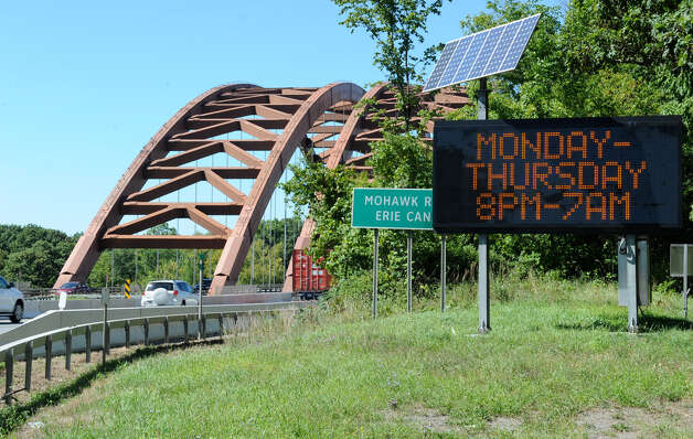 Traffic sign near the twin bridges on Wednesday, Aug. 29, 2012 in Halfmoon, N.Y. (Lori Van Buren / Times Union) Photo: Lori Van Buren