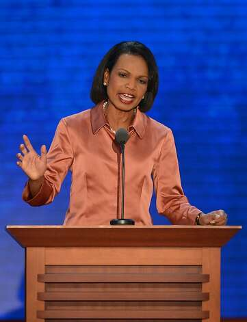 Former US Secretary of State Condoleezza Rice speaks to the crowd at the Tampa Bay Times Forum in Tampa, Florida, on August 29, 2012 during the Republican National Convention (RNC). The RNC will culminate on August 30th with the formal nomination of Mitt Romney and Paul Ryan as the GOP presidential and vice-presidential candidates in the US presidential election. Photo: Stan Honda, AFP/Getty Images