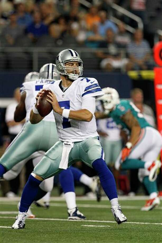 Dallas Cowboys' Stephen McGee (7) drops back to pass against the Miami Dolphins in the first half of a preseason NFL football game Wednesday, Aug. 29, 2012, in Arlington, Texas. (AP Photo/Tony Gutierrez) Photo: Tony Gutierrez, Associated Press / AP