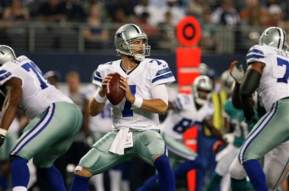 Dallas Cowboys quarterback Stephen McGee (7) prepares to pass against the Miami Dolphins in the first half of a preseason NFL football game Wednesday, Aug. 29, 2012, in Arlington, Texas. (AP Photo/Tony Gutierrez) Photo: Tony Gutierrez, Associated Press / AP