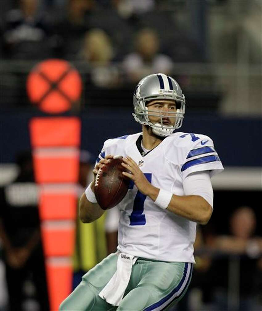 Dallas Cowboys' Stephen McGee (7) passes in the first half of a preseason NFL football game against the Miami Dolphins Wednesday, Aug. 29, 2012, in Arlington, Texas. (AP Photo/LM Otero)