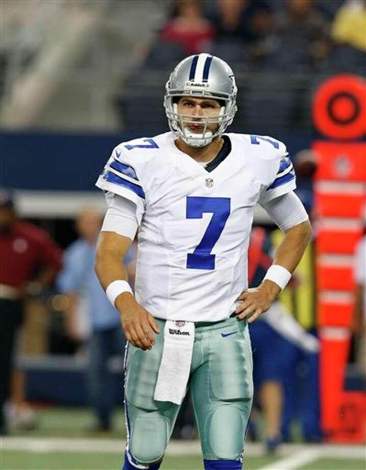 Dallas Cowboys quarterback Tony Romo (9) during a preseason NFL football game against the Miami Dolphins Wednesday, Aug. 29, 2012, in Arlington, Texas. (AP Photo/Sharon Ellman) Photo: Sharon Ellman, Associated Press / FR170032 AP