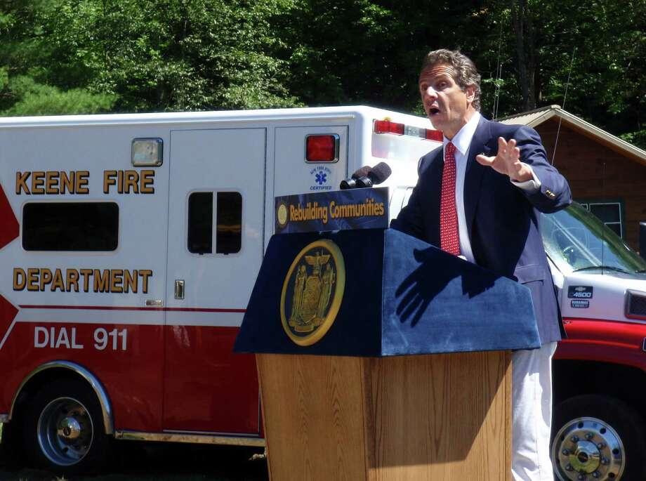 Gov. Andrew Cuomo announced state funding of up to $640,000, Wednesday Aug. 29, 2012, to allow construction of a new firehouse in Keene, N.Y. The previous building was destroyed by Tropical Storm Irene. (Courtesy / Adirondack Explorer)