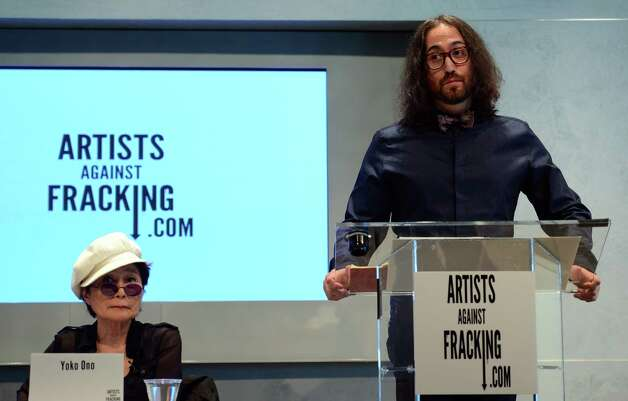 Artist Yoko Ono and her son Sean Lennon attend the launch of Artists Against Fracking, an activist partnership project opposed to hydraulic fracking, at a press conference in New York, August 29, 2012. Artists Against Fracking is a new coalition of artists, musicians, filmmakers and public figures opposed to hydraulic fracking, which includes 146 members including Lady Gaga, Paul McCartney, Salman Rushdie, Ringo Starr, David Bryne, Alec Baldwin, Marina Abramovic, Kronos Quartet, Cindy Sherman, MGMT, Wilco, Bonnie Raitt, Liv Tyler, Mario Batali, Roberta Flack, Mark Ruffalo, Uma Thurman, Joseph Gordon-Levitt and many others.  AFP PHOTO/Emmanuel DunandEMMANUEL DUNAND/AFP/GettyImages Photo: EMMANUEL DUNAND