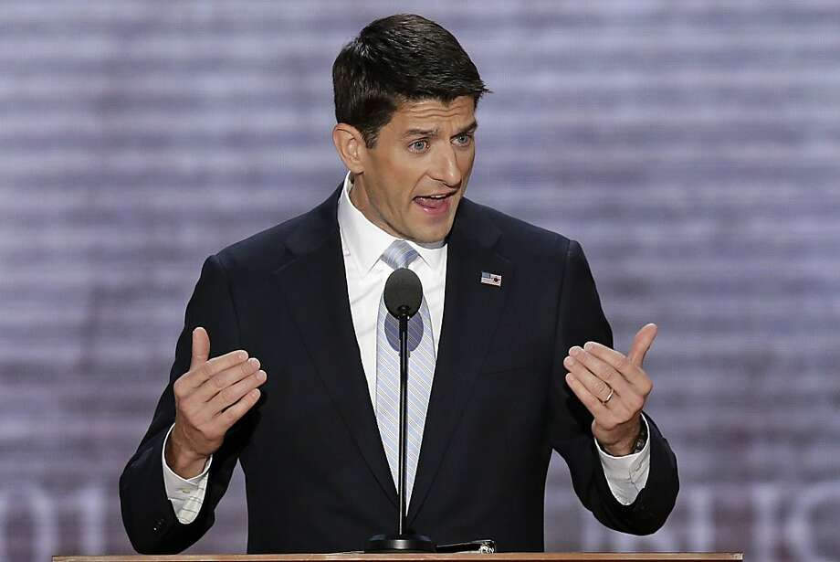 Republican vice presidential nominee, Rep. Paul Ryan addresses the Republican National Convention in Tampa, Fla., on Wednesday, Aug. 29, 2012. (AP Photo/J. Scott Applewhite) Photo: J. Scott Applewhite, Associated Press