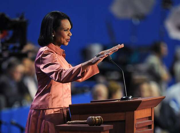 Former US Secretary of State Condoleezza Rice speaks to the crowd at the Tampa Bay Times Forum in Tampa, Florida, on August 29, 2012 during the Republican National Convention (RNC). The RNC will culminate on August 30th with the formal nomination of Mitt Romney and Paul Ryan as the GOP presidential and vice-presidential candidates in the US presidential election.    AFP PHOTO Robyn BECKROBYN BECK/AFP/GettyImages Photo: Robyn Beck, AFP/Getty Images