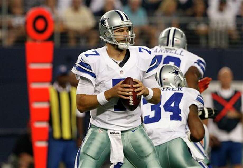 Dallas Cowboys quarterback Stephen McGee (7) prepares to pass during the first half of a preseason NFL football game against the Miami Dolphins, Wednesday, Aug. 29, 2012 in Arlington, Texas (AP Photo/Tony Gutierrez) Photo: Tony Gutierrez, Associated Press / AP