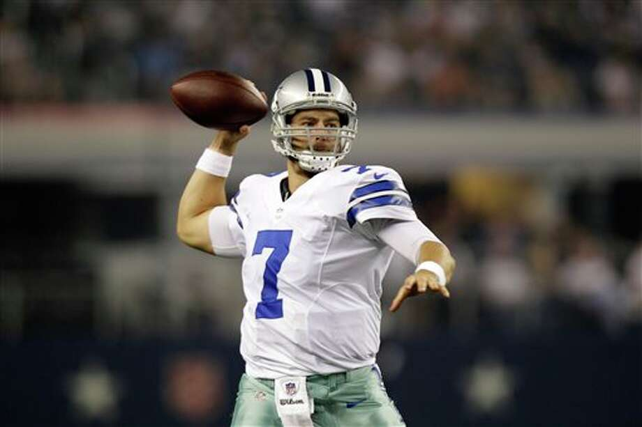 Dallas Cowboys quarterback Stephen McGee (7) passes against the Miami Dolphins in the first half of a preseason NFL football game Wednesday, Aug. 29, 2012, in Arlington, Texas. (AP Photo/LM Otero) Photo: LM Otero, Associated Press / AP