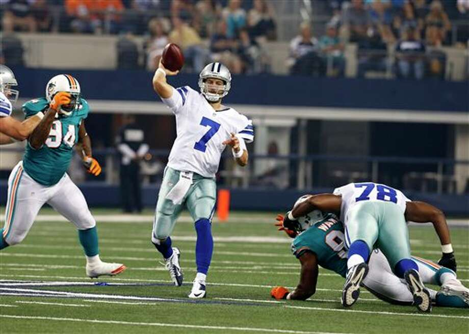 Dallas Cowboys quarterback Stephen McGee (7) passes against the Miami Dolphins during a preseason NFL football game Wednesday, Aug. 29, 2012, in Arlington, Texas. (AP Photo/Sharon Ellman) Photo: Sharon Ellman, Associated Press / FR170032 AP