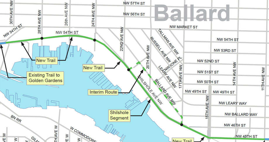 "The map of the controversial ""missing link"" placement in Ballard. Photo: City Of Seattle"