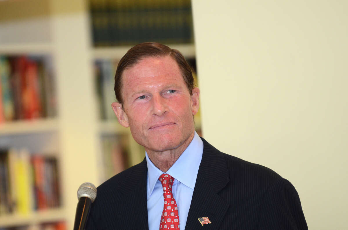 U. S. Senator Richard Blumenthal speaks during the observation of the 67th anniversary of the end of WWII at Atria Senior Living in Darien on Sunday, Aug. 12, 2012. U.S. Sens. Richard Blumenthal, D-Conn., and Kirsten Gillibrand, D-N.Y., will convene a federal hearing on Lyme disease at UConn Stamford, Conn. on Thursday, Aug 30, 2012.
