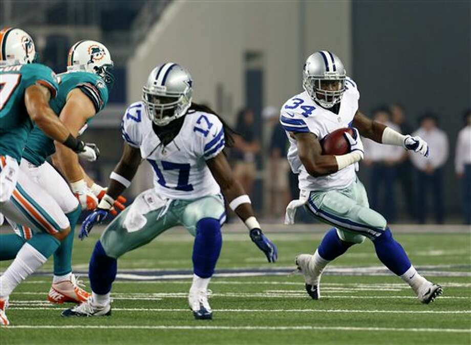 Dallas Cowboys' Phillip Tanner (34) during the first half of a preseason NFL football game against the Miami Dolphins, Wednesday, Aug. 29, 2012 in Arlington, Texas (AP Photo/Sharon Ellman) Photo: Sharon Ellman, Associated Press / FR170032 AP