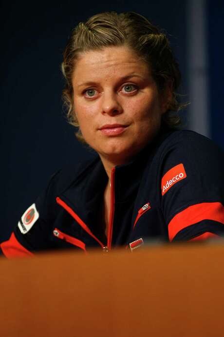 NEW YORK, NY - AUGUST 29:  Kim Clijsters of Belgium speaks to the media following her defeat to Laura Robson of Great Britain after their women's singles second round match on Day Three of the 2012 US Open at USTA Billie Jean King National Tennis Center on August 29, 2012 in the Flushing neigborhood of the Queens borough of New York City.  (Photo by Alex Trautwig/Getty Images) Photo: Alex Trautwig / 2012 Getty Images