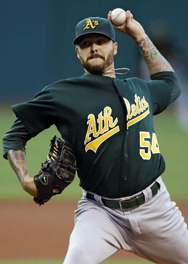Oakland Athletics starting pitcher Travis Blackley delivers against the Cleveland Indians in the first inning of a baseball game, Wednesday, Aug. 29, 2012, in Cleveland. (AP Photo/Mark Duncan) Photo: Mark Duncan, Associated Press