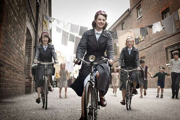 Bryony Hannah (left), Jessica Raine and Helen George appear in the British drama about 1950s midwives. Photo: Laurence Cendrowicz, Associated Press