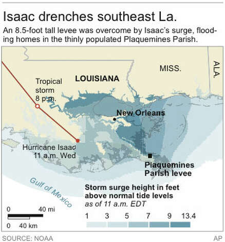 Graphic shows Isaac's storm surge and current position of the storm along the Louisiana coast Photo: AP