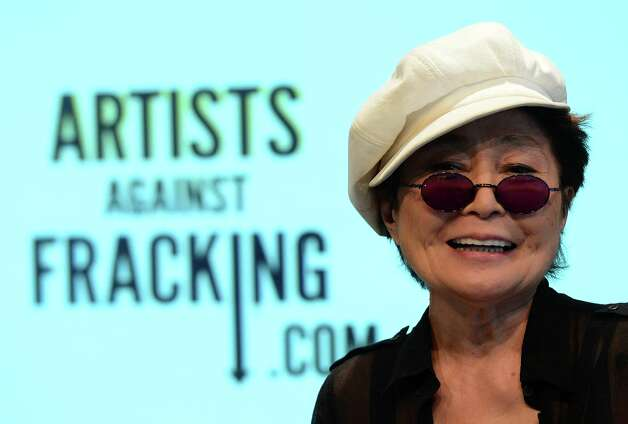 Artist Yoko Ono addresses a speech during the launch of Artists Against Fracking, an activist partnership project opposed to hydraulic fracking, at a press conference in New York, August 29, 2012. Artists Against Fracking is a new coalition of artists, musicians, filmmakers and public figures opposed to hydraulic fracking, which includes 146 members including Lady Gaga, Paul McCartney, Salman Rushdie, Ringo Starr, David Bryne, Alec Baldwin, Marina Abramovic, Kronos Quartet, Cindy Sherman, MGMT, Wilco, Bonnie Raitt, Liv Tyler, Mario Batali, Roberta Flack, Mark Ruffalo, Uma Thurman, Joseph Gordon-Levitt and many others.  AFP PHOTO/Emmanuel DunandEMMANUEL DUNAND/AFP/GettyImages Photo: EMMANUEL DUNAND, AFP/Getty Images / AFP