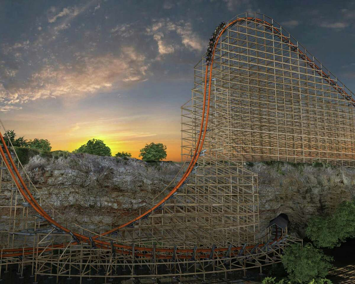 Artist's rendering of the Iron Rattler at Six Flags Fiesta Texas will look like once the modern track and rails have been added to the wooden structure of the original Rattler.