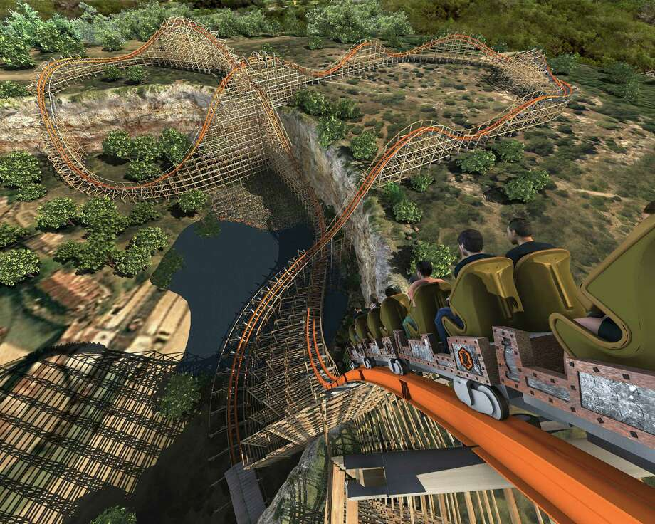 Artist's rendering of the Iron Rattler at Six Flags Fiesta Texas will look like once the modern track and rails have been added to the wooden structure of the original Rattler. Photo: Courtesy Illustration