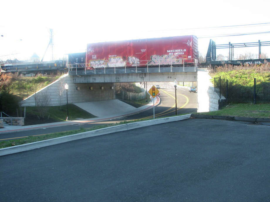 This railcar covered in graffiti was removed from a South Norwalk overpass. Photo: Contributed Photo / Paul Devlin