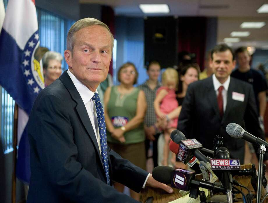 U.S. Rep. Todd Akin, R-Mo., appears at a news conference where he confirmed his plans to remain in Missouri's U.S. Senate race despite a political uproar over remarks he made about rape and pregnancy. (AP Photo/Sid Hastings) Photo: Sid Hastings, Associated Press / FR158536 AP