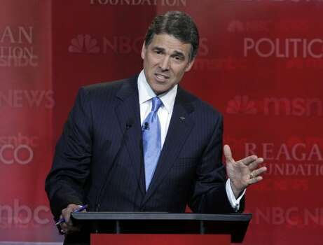 Rick Perry speaks during a Republican presidential candidate debate at the Reagan Library Wednesday, Sept. 7, 2011, in Simi Valley, Calif. (Jae C. Hong / Associated Press)
