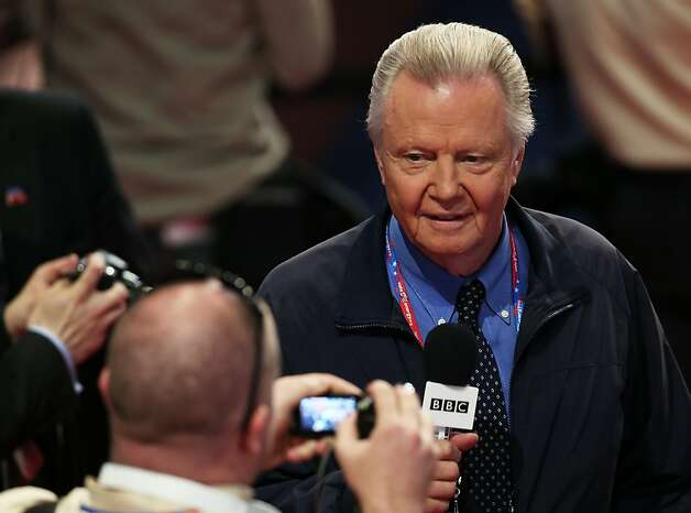 TAMPA, FL - AUGUST 30:  Actor Jon Voight gives an interview to the BBC during the final day of the Republican National Convention at the Tampa Bay Times Forum on August 30, 2012 in Tampa, Florida. Former Massachusetts Gov. Mitt Romney was nominated as the Republican presidential candidate during the RNC which will conclude today. Photo: Win McNamee, Getty Images