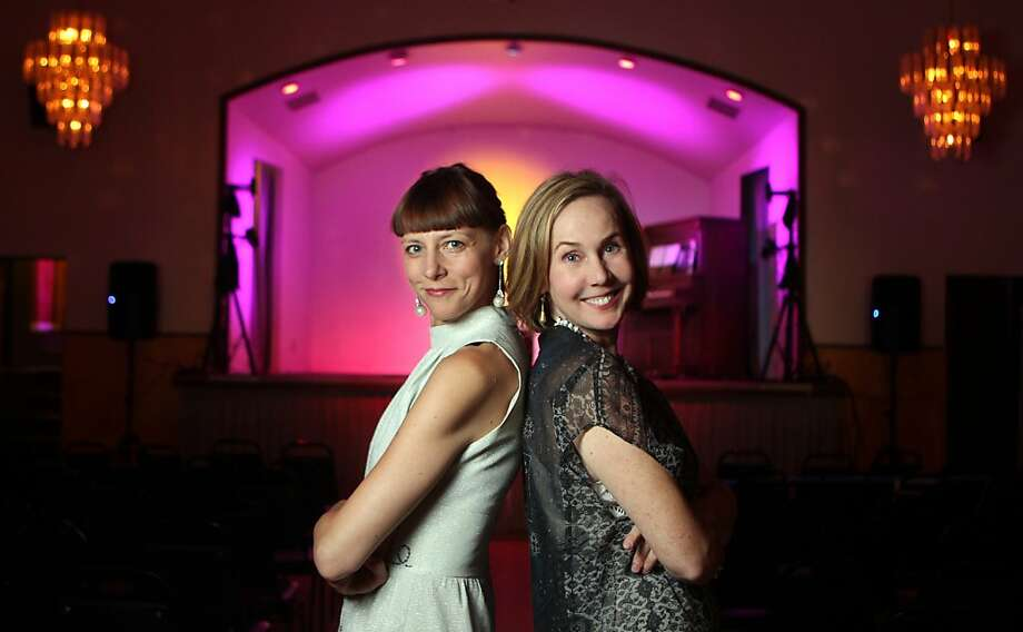 Beth Lisick (left) and Arline Klatte started Porchlight in 2002 at the Hemlock Tavern. With audiences growing from 50 to 250, the monthly storytelling series has moved to the Verdi Club. Photo: Lance Iversen, The Chronicle