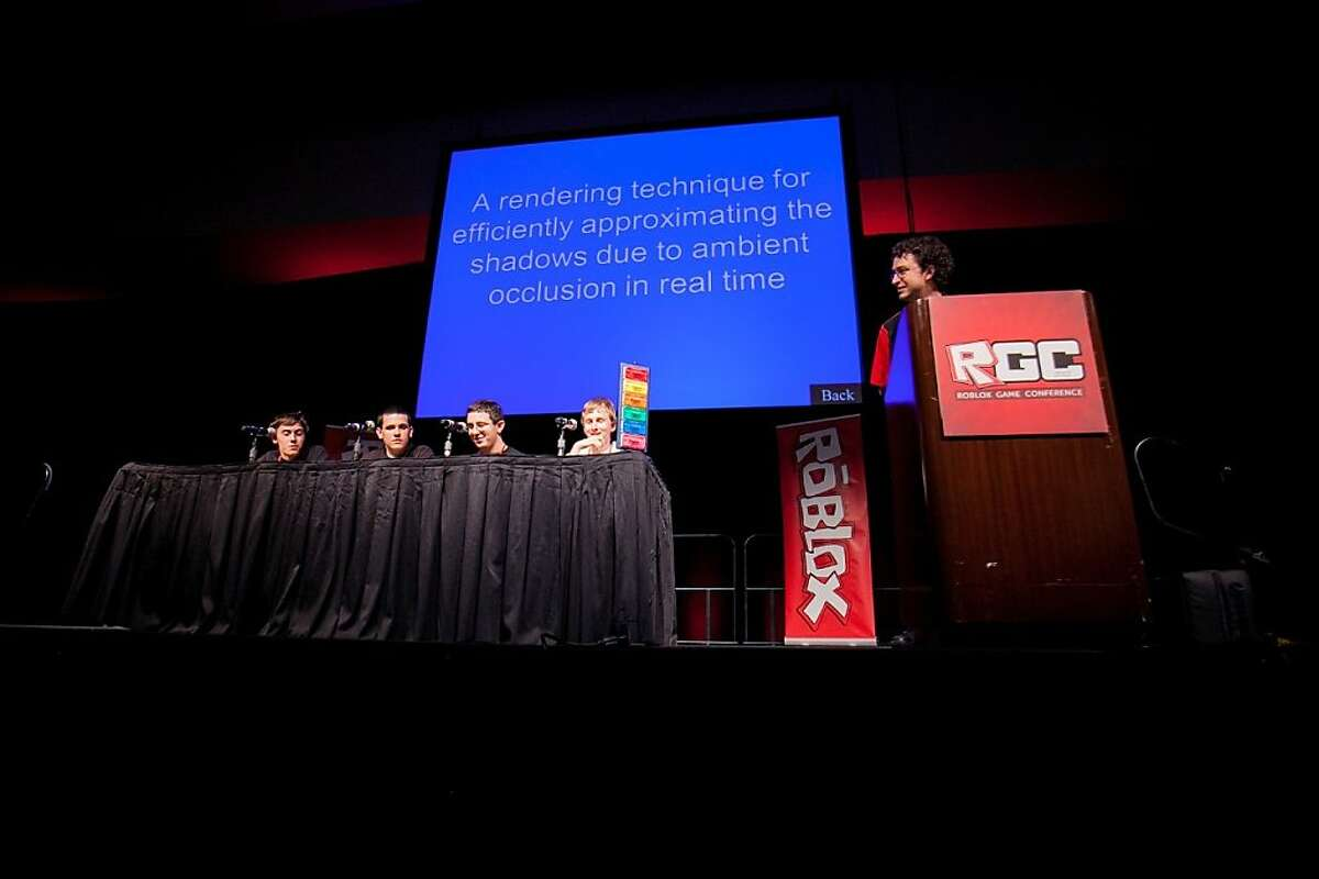 (from left) Zane Hefley, Brandon LaRouche, Alex Binello, and Nick Haeuserer, play Roblox Jeopardy at the ROBLOX Game Conference at the Santa Clara Convention Center in Santa Clara, Calif., July 14, 2012.