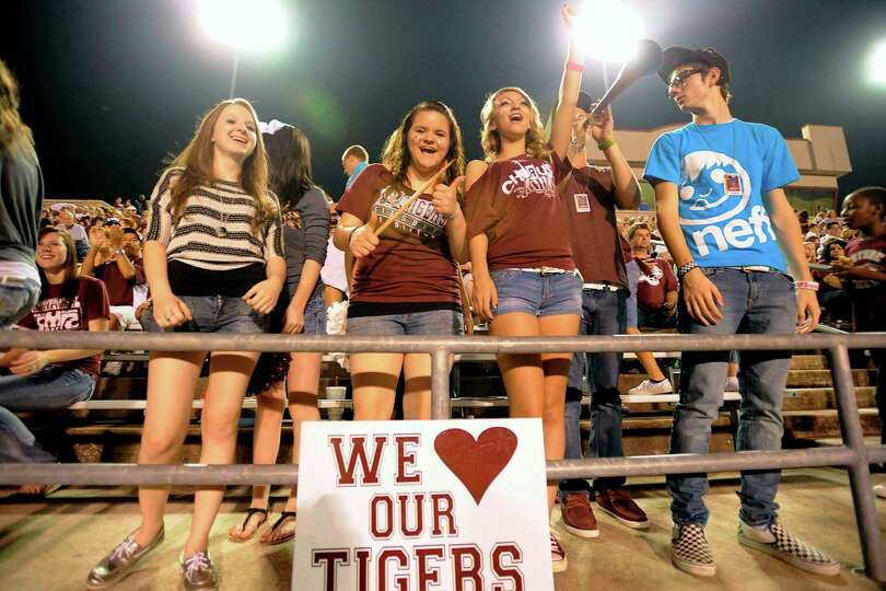 Silsbee fans show their Tigers spirit in the first half against the Newton Eagles at Silsbee High Sc