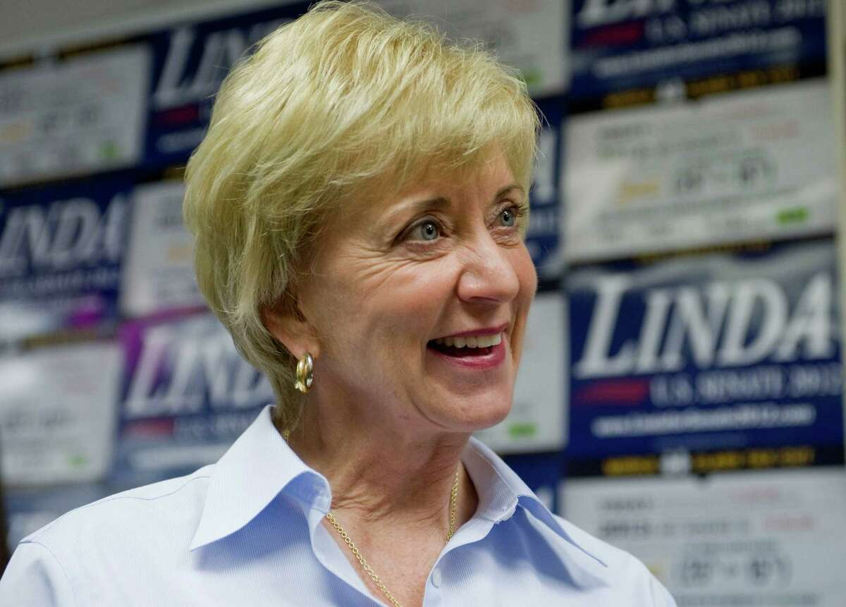 Republican candidate for U.S. Senate Linda McMahon smiles at a grand opening for her Farmington, Conn., office Friday, July 27, 2012. The former wrestling CEO McMahon is being used as a foil by other candidates to raise cash. (AP Photo/Jessica Hill)