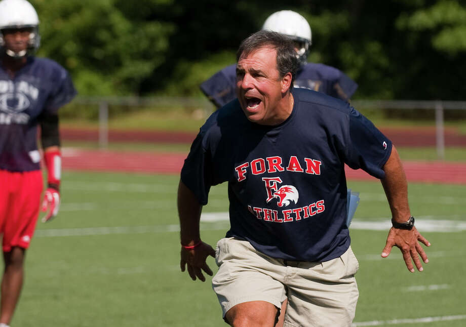 Foran High School Head Coach Jeff Bevino during football practice in Milford, Conn. on Wednesday August 30, 2012. Photo: Christian Abraham / Connecticut Post