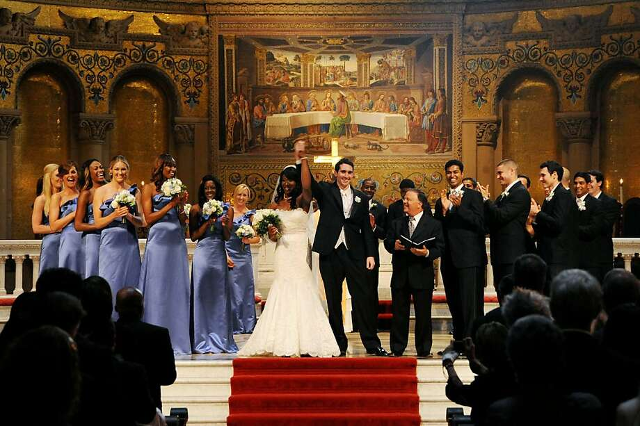Stanford's Memorial Church is the site of the August wedding of volleyball player Ogonna Nnamani and football player Mike Silva, with many teammates among their attendants. Photo: Gonzalesphoto.com