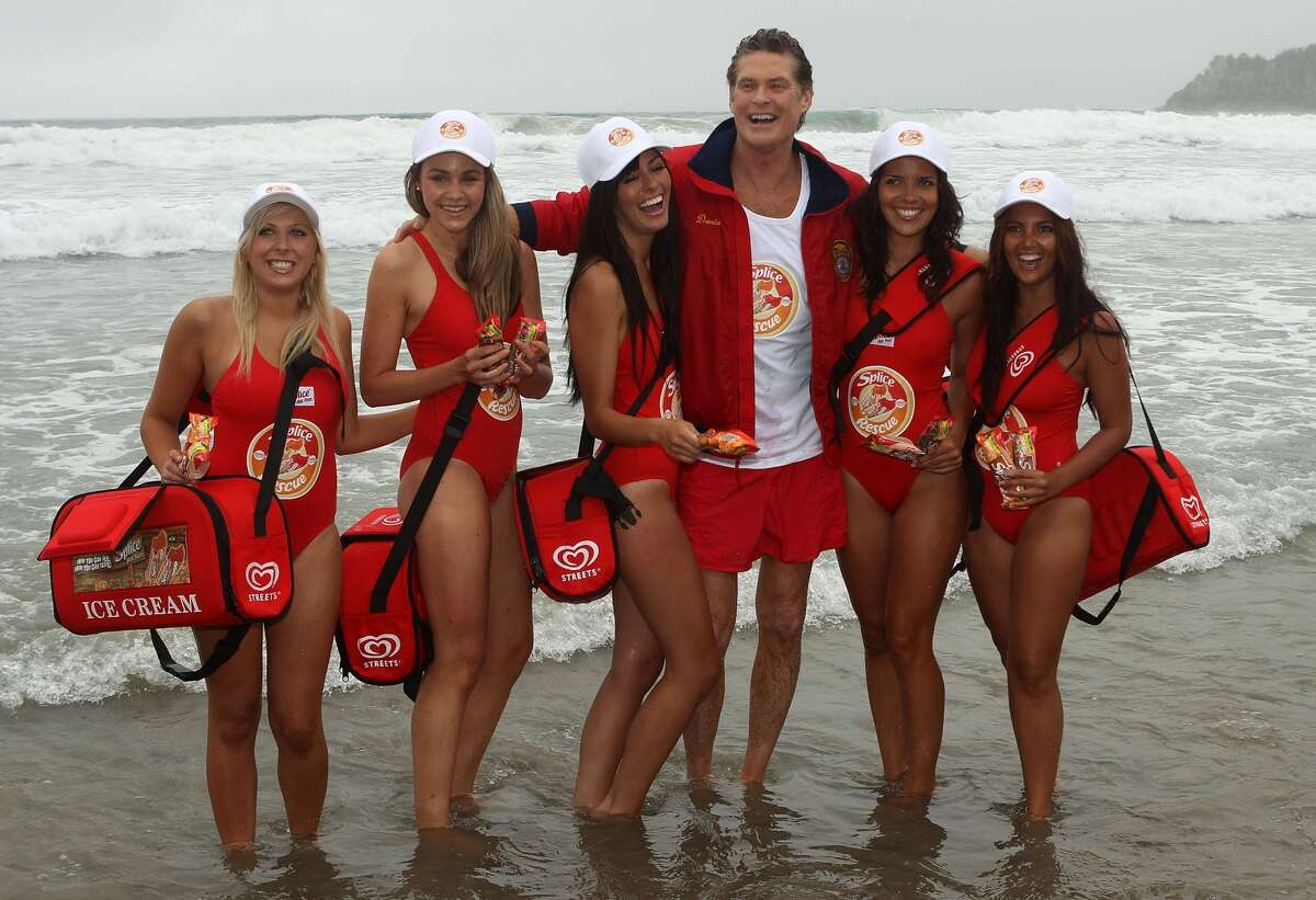 Hasselhoff recapturing the Baywatch glory during a promotion for the new 'Splice Real Fruit' ice block in 2011.