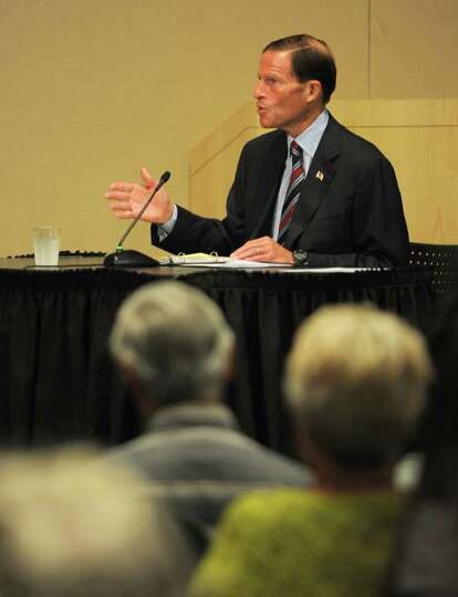U.S. Sen. Richard Blumenthal speaks during Thursday's federal hearing on Lyme Disease at UConn Stamf