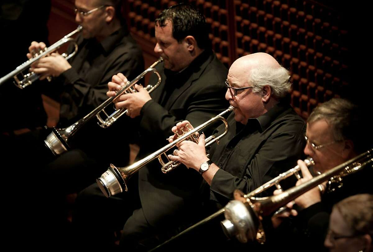 (l to r) Mark Inouye, Jeff Biancalana, Glenn Fischth and Paul Welcomer, on trombone, as Fischthall plays his final performance with the San Francisco Symphony on Friday August 3, 2012, in San Francisco, Calif. Fischthal retires after 33 years as a trumpeter with the San Francisco Symphony.