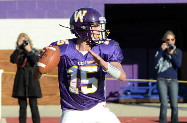 Westhill's quarterback Peter Cernansky (15) during the football game against Staples at Westhill High School on Saturday, Nov. 12, 2011. Photo: Amy Mortensen / Connecticut Post Freelance