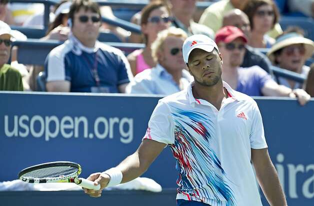 Jo-Wilfried Tsonga of France reacts during his match with Martin Klizan of Slovakia during thier men's match against at the 2012 US Open tennis tournament August 30, 2012 in New York.   AFP PHOTO/DON EMMERTDON EMMERT/AFP/GettyImages Photo: Don Emmert, AFP/Getty Images
