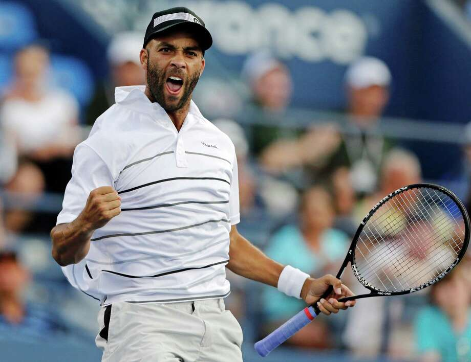James Blake celebrates during his match against Marcel Granollers, of Spain, in the second round of play at the U.S. Open tennis tournament, Thursday, Aug. 30, 2012, in New York. Blake won 6-1, 6-4, 6-2. (AP Photo/Charles Krupa) Photo: Charles Krupa, Associated Press / AP
