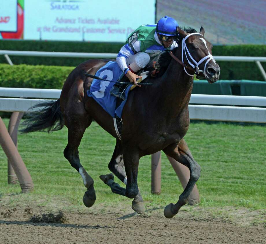 Archwarrior with jockey John Velazquez enjoys a win at the Saratoga Race Course in Saratoga, N.Y.  in preparation for Saturday's Woodward Stakes.  Archwarrior was touted at one of next year's Triple Crown superstars. (Skip Dickstein/Times Union) Photo: Skip Dickstein