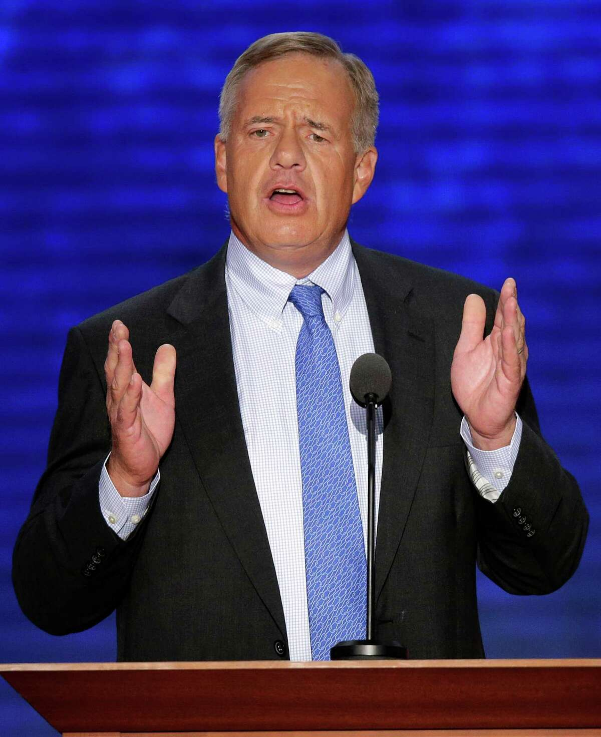 Tom Stemberg, founder of Staples office supply stores, addresses the Republican National Convention in Tampa, Fla., on Thursday, Aug. 30, 2012.