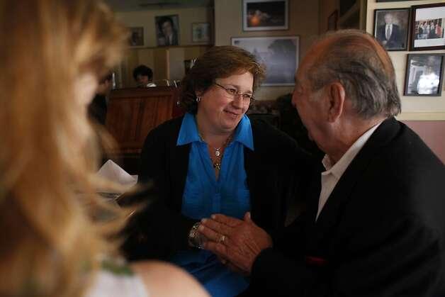 Roberta Romani (l to r), wife of the late Luigi Romani who co-owned Caesar's Italian Restaurant, talks with Billy Castell of El Cerrito as Castell leaves the restaurant after lunch at Caesar's Italian Restaurant  on Thursday, August 30, 2012 in San Francisco, Calif. Photo: Lea Suzuki, The Chronicle