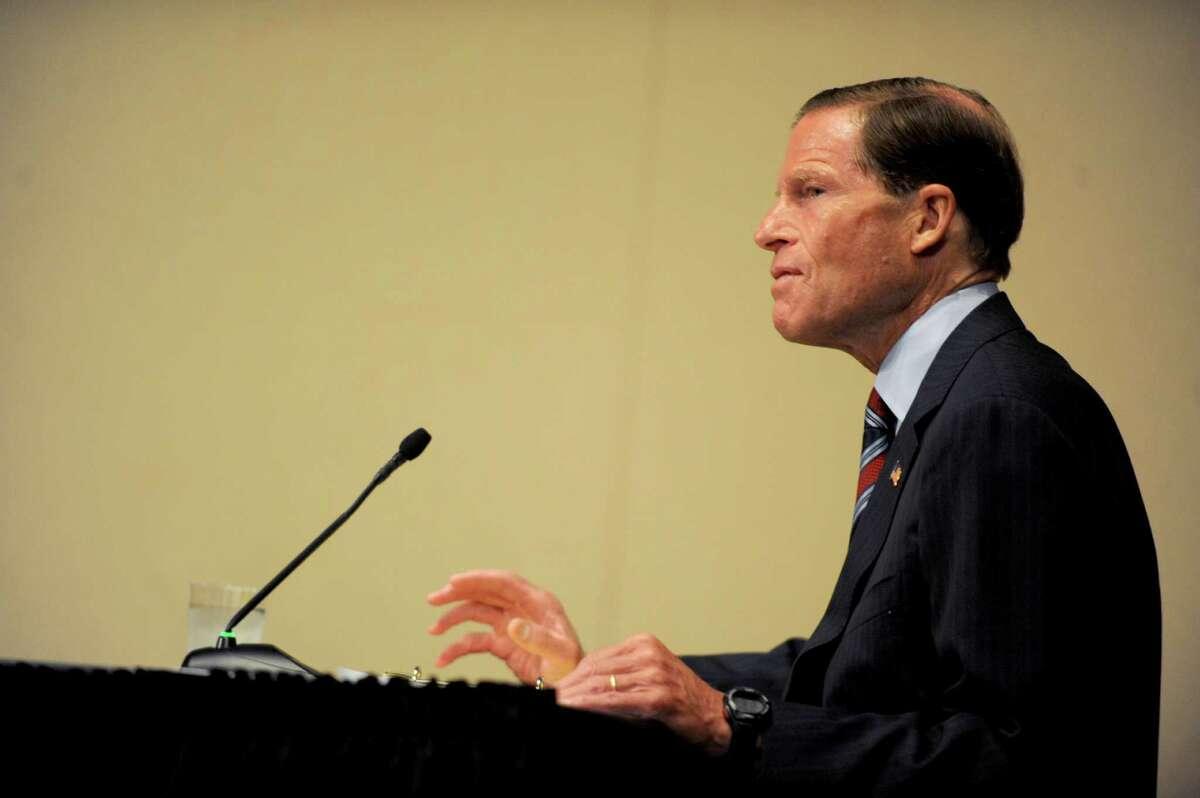 U.S. Sen. Richard Blumenthal speaks during Thursday's federal hearing on Lyme Disease at UConn Stamford on August 30, 2012.
