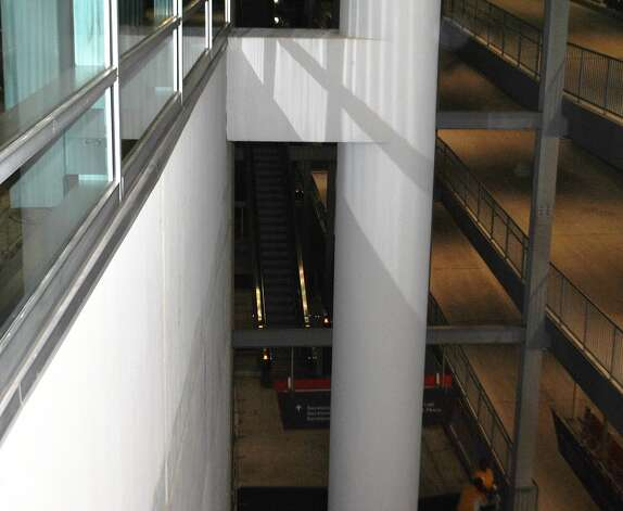 The escalator where a fan fell to his death at Reliant Stadium. (Anna-Megan Raley / Courtesy of CBS Houston)