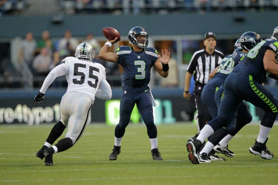 Seattle Seahawks Russell Wilson throws the ball in the first half. Photo: AP
