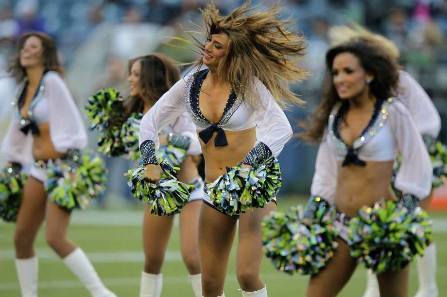 Seattle Seahawks cheerleaders during the first half. Photo: AP