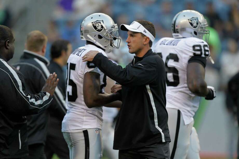 Oakland Raiders head coach Dennis Allen in the first half. Photo: AP