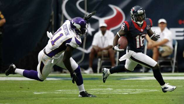 Kick returner Trindon Holliday (16) showcased his blazing speed not only to the Texans' coaching staff, but to several Vikings defenders, who saw him followed by a trail of dust on his third preseason return for a TD. Photo: Brett Coomer / © 2012  Houston Chronicle